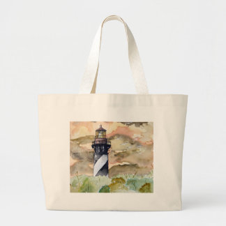 St Augustine Florida lighthouse painting Large Tote Bag