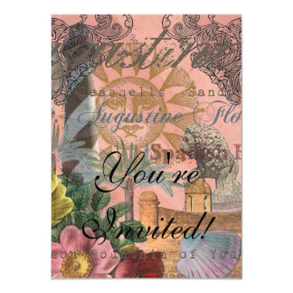 St. Augustine Florida Vintage Collage 4.5x6.25 Paper Invitation Card