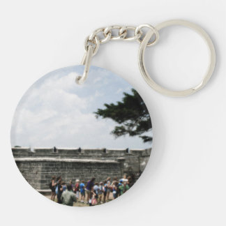 St. Augustine Fort Crowd Grainy Double-Sided Round Acrylic Keychain