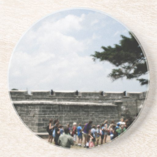 St. Augustine Fort Crowd Grainy Drink Coasters
