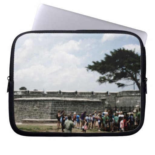 St. Augustine Fort Crowd Grainy Laptop Computer Sleeve