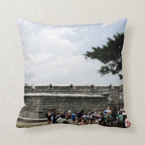 St. Augustine Fort Crowd Grainy Pillow