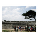 St. Augustine Fort Crowd Grainy Postcard