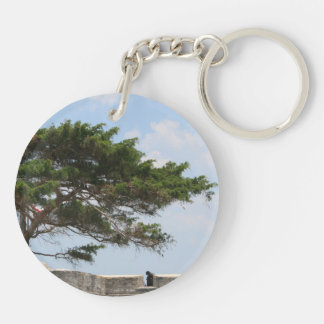 St Augustine Fort Tree  Castillo de San Marcos Double-Sided Round Acrylic Keychain