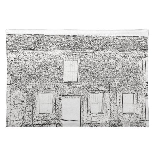St Augustine Fort Windows Line Drawing Cloth Placemat