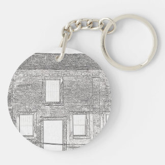 St Augustine Fort Windows Line Drawing Double-Sided Round Acrylic Keychain