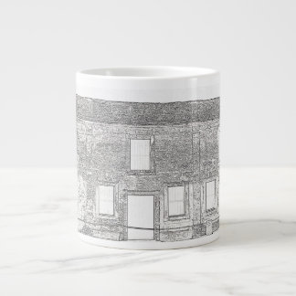 St Augustine Fort Windows Line Drawing Large Coffee Mug