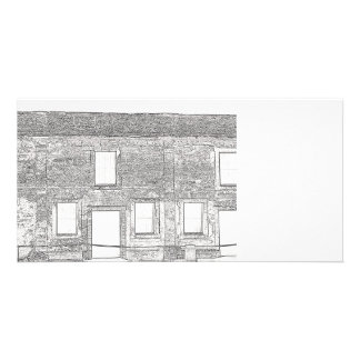 St Augustine Fort Windows Line Drawing Photo Card