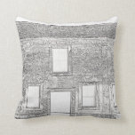 St Augustine Fort Windows Line Drawing Pillows