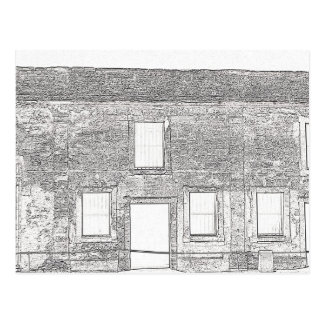 St Augustine Fort Windows Line Drawing Postcard