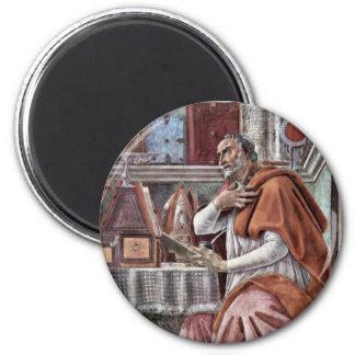 St. Augustine In Contemplative Prayer By Sandro 2 Inch Round Magnet