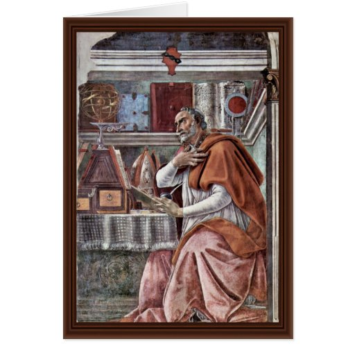 St. Augustine In Contemplative Prayer By Sandro Greeting Cards
