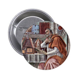 St. Augustine In Contemplative Prayer By Sandro Pinback Button