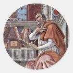 St. Augustine In Contemplative Prayer By Sandro Round Sticker