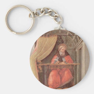 St. Augustine in his Cell Basic Round Button Keychain