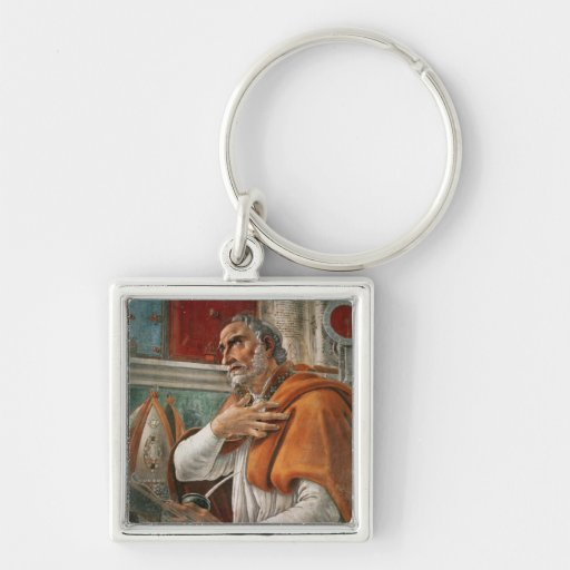 St. Augustine in his Cell, c.1480 Silver-Colored Square Keychain
