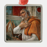St. Augustine in his Cell, c.1480 Square Metal Christmas Ornament