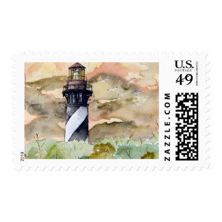st augustine lighthouse painting postage stamp