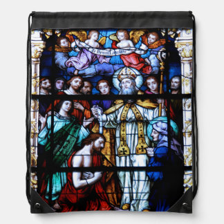 St. Augustine Stained Glass Drawstring Bags
