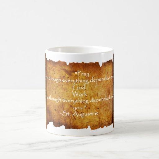 St. Augustine Timeless Quote: Prayer / Work Classic White Coffee Mug