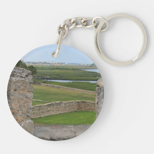 St Augustine view from castle Double-Sided Round Acrylic Keychain