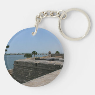 St Augustine View from fort towards bridge Double-Sided Round Acrylic Keychain