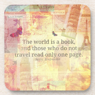 St. Augustine  World is a Book travel quote Coaster