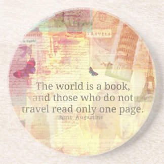 St. Augustine  World is a Book travel quote Sandstone Coaster