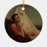St Augustine y su St. Mónica, 1855 de la madre Adorno Navideño Redondo De Cerámica