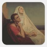 St Augustine y su St. Mónica, 1855 de la madre Pegatina Cuadrada