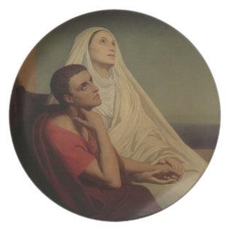 St Augustine y su St. Mónica, 1855 de la madre Plato Para Fiesta