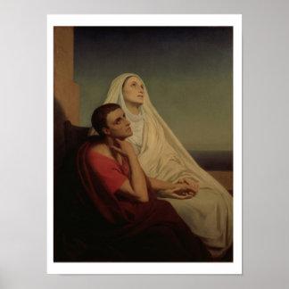 St Augustine y su St. Mónica, 1855 de la madre Póster