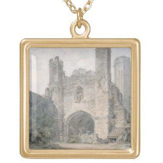 St. Augustine's Gate, Canterbury, c.1797 (w/c over Gold Plated Necklace