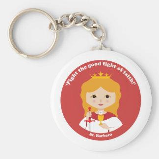 St. Barbara Basic Round Button Keychain