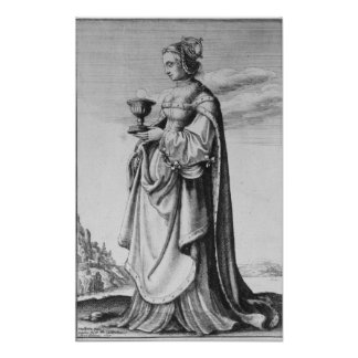 St. Barbara, etched by Wenceslaus Hollar, 1647 Poster