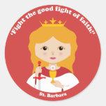 St. Barbara Pegatina Redonda