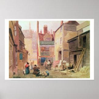 St. Bartholomew Close, Smithfield, London, 1850 (w Poster