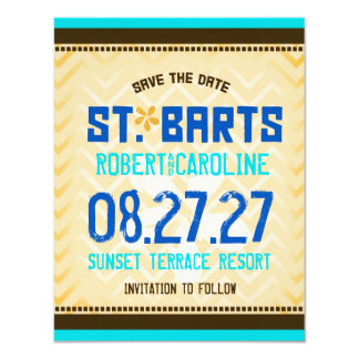 ST. BARTS Save the Date Linen Paper Card