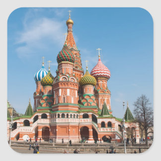 St. Basil cathedral in Moscow Square Sticker