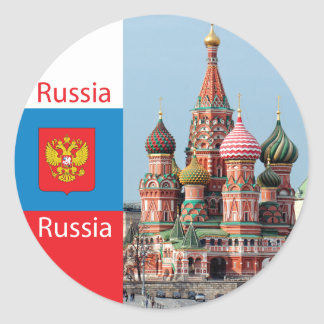 St. Basil cathedral. Russia Classic Round Sticker