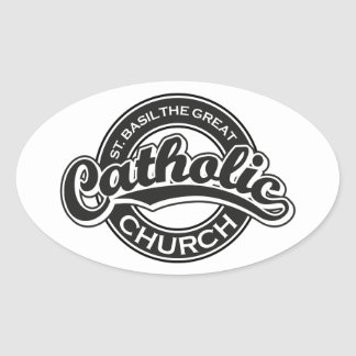 St. Basil the Great black and white Oval Sticker