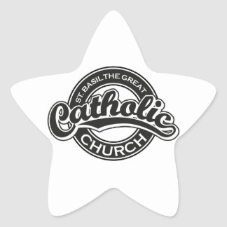 St. Basil the Great black and white Star Sticker