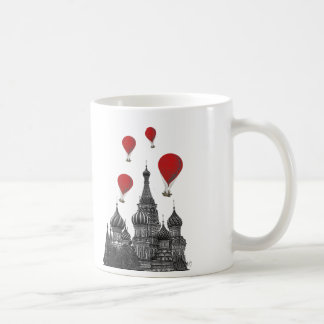 St Basil's Cathedral and Red Hot Air Balloons Coffee Mug
