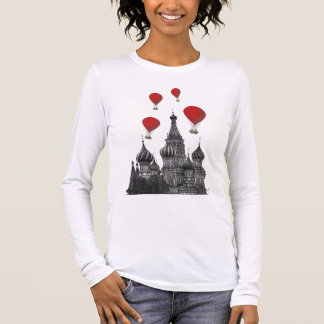 St Basil's Cathedral and Red Hot Air Balloons Long Sleeve T-Shirt