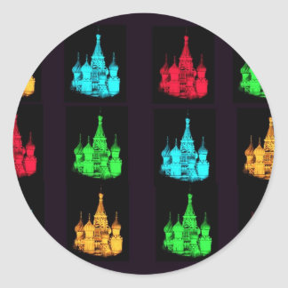 St. Basil's Cathedral Collage Classic Round Sticker