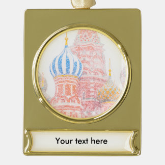 St Basil's Cathedral In Snowstorm Gold Plated Banner Ornament