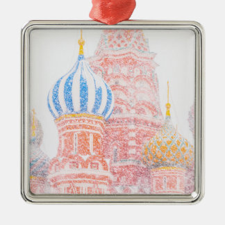 St Basil's Cathedral In Snowstorm Metal Ornament