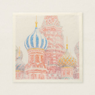 St Basil's Cathedral In Snowstorm Paper Napkin