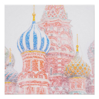 St Basil's Cathedral In Snowstorm Poster