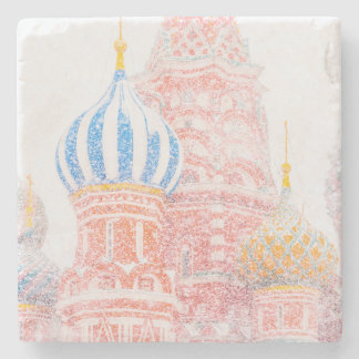 St Basil's Cathedral In Snowstorm Stone Coaster